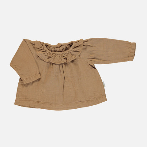 Organic Cotton Charme Round Collar Blouse - Brown Sugar