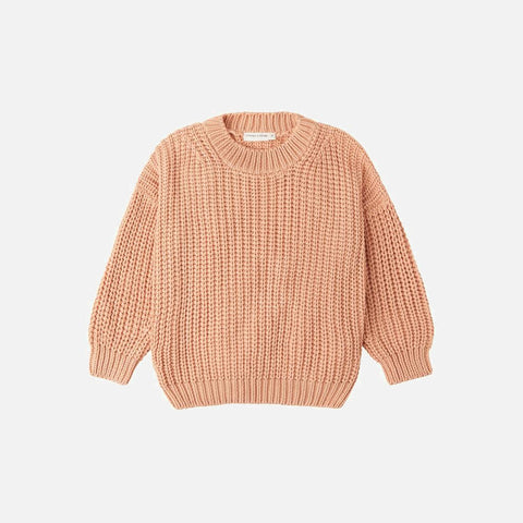 Cotton Chunky Pullover - Coral
