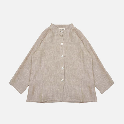 Linen Collarless Shirt - Beige