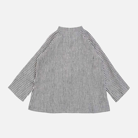 Linen Collarless Shirt - Grey Striped