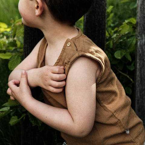 Organic Cotton Ceylan Sleeveless Top - Brown Sugar