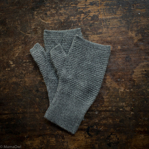 Adult Alpaca Fingerless Glove/Wristwarmer  - Anthracite, Cocoa and Slate - One Size