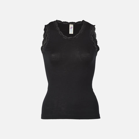 Organic Silk/Merino Women's Sleeveless Lace Vest - Black