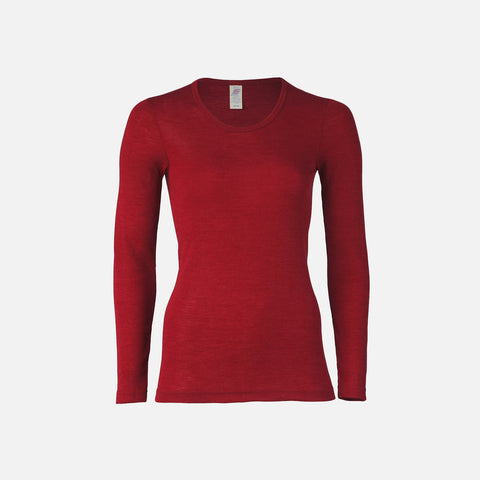 Organic Silk & Merino Wool Women's LS Top - Mallow