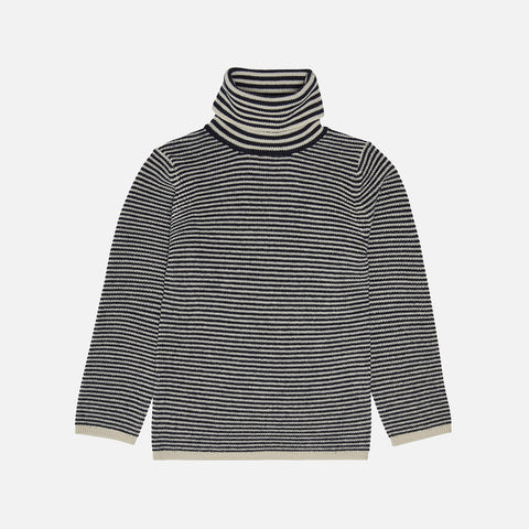 Merino Wool Roll Neck Top - Ecru/Dark Navy