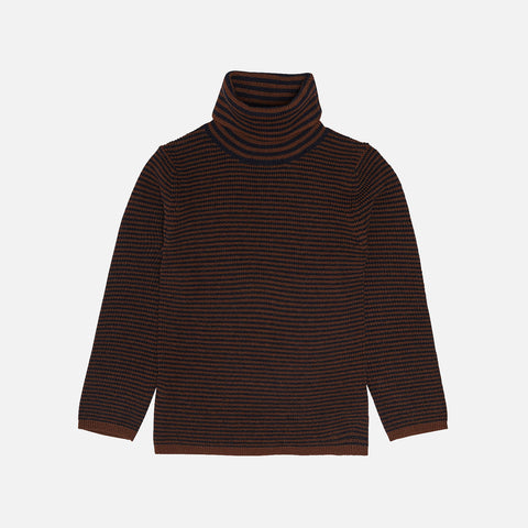 Merino Wool Roll Neck Top - Umber/Dark Navy