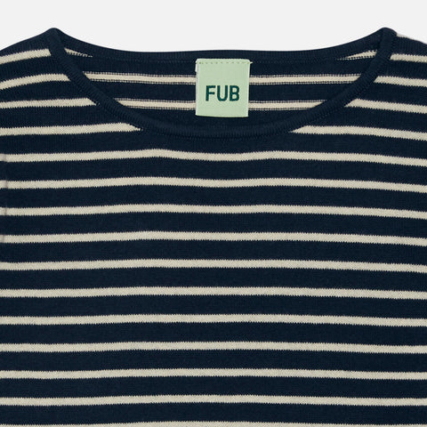 Organic Cotton Sweater - Navy/Ecru