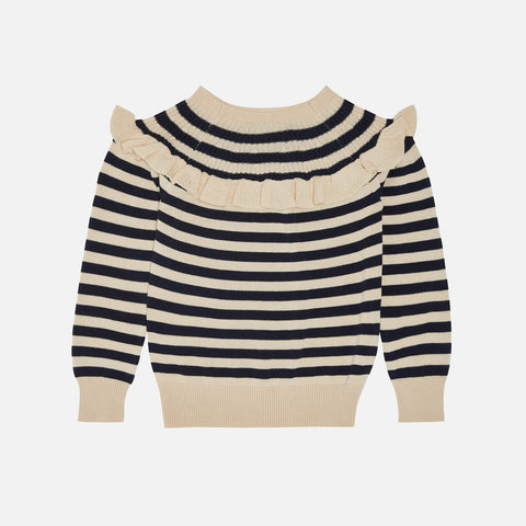 Organic Cotton Frill Sweater - Ecru/Navy