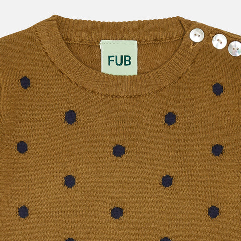 Organic Cotton Baby Dot Sweater - Sienna/Navy