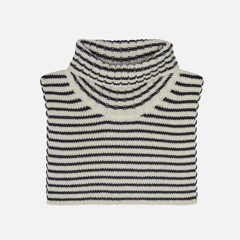 Merino Wool Neck Warmer - Ecru/Dark Navy