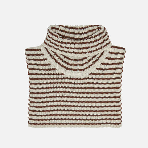 Merino Wool Neck Warmer - Ecru/Umber