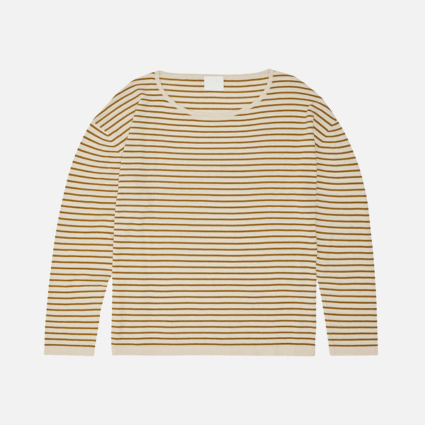 Women's Organic Cotton Striped Sweater - Ecru/Sienna