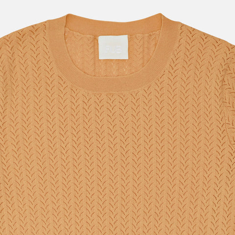 Women's Organic Cotton Pointelle Sweater -Yellow