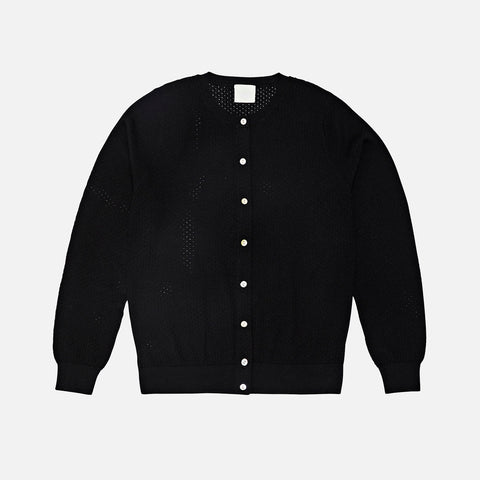 Women's Merino Pointelle Cardigan - Black