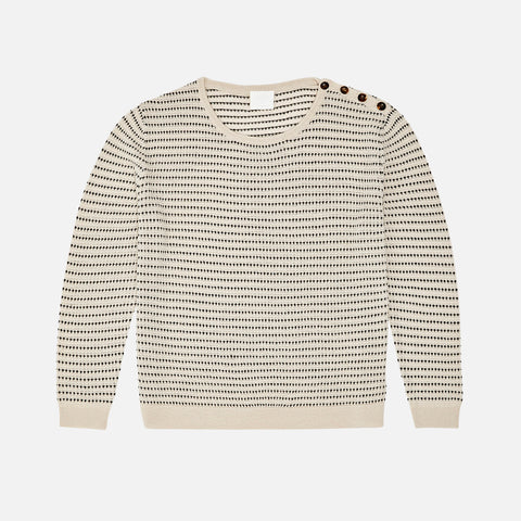 Women's Merino Wool Structure Sweater - Ecru/Black