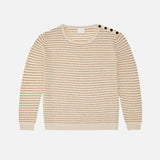 Women's Merino Wool Structure Sweater - Ecru/Sienna