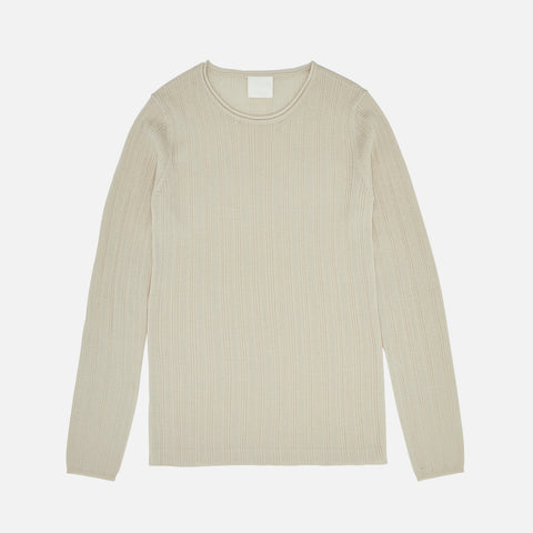 Women's Merino Wool LS Rib Top - Ecru