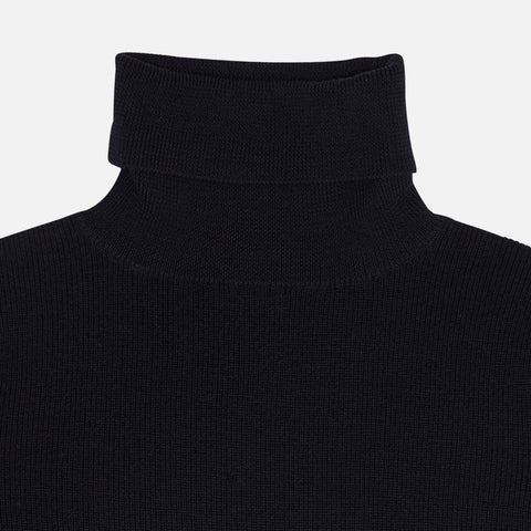 Women's Merino Wool Roll Neck Top - Dark Navy