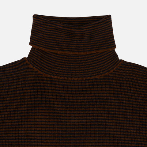 Women's Wool Roll Neck Top - Umber/Dark Navy