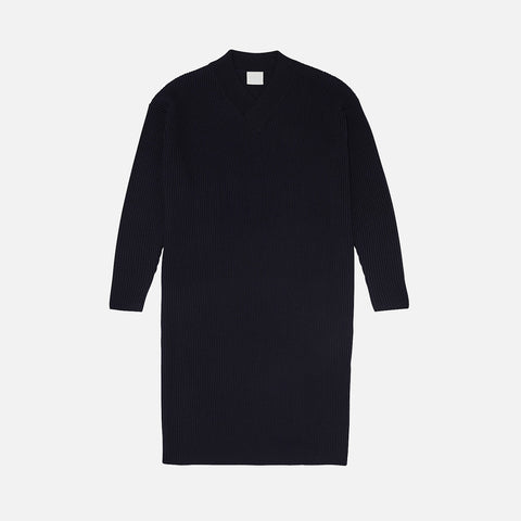 Women's Merino Wool Rib Dress - Dark Navy