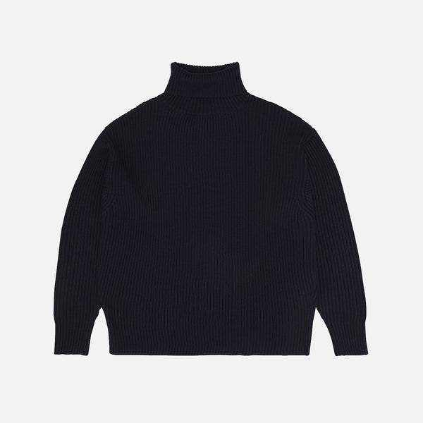 Women's Merino Wool Rib Sweater - Dark Navy