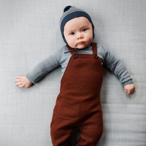 Merino Wool Felted Baby Overalls - Umber