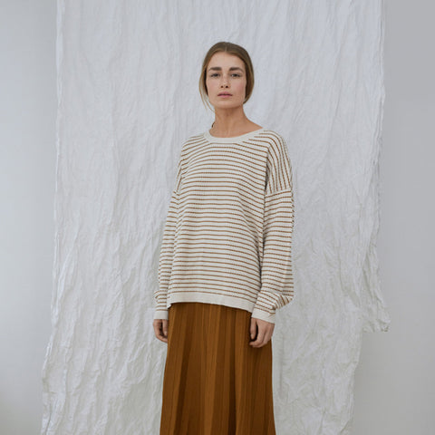 Women's Merino Wool Stripe Oversize Sweater - Ecru/Sienna