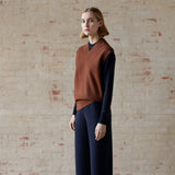 Women's Wool Pointelle Sweater - Dark Navy