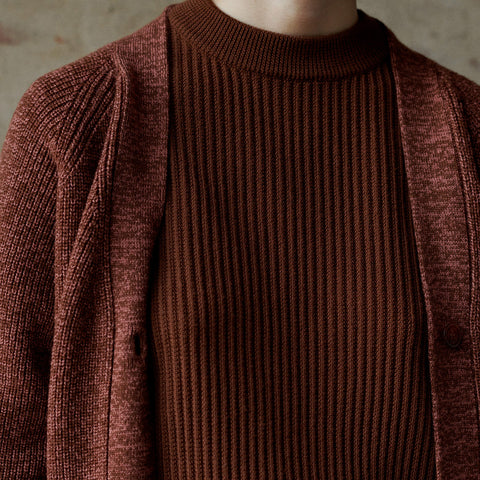 Women's Merino Wool Purl Rib Sweater - Umber