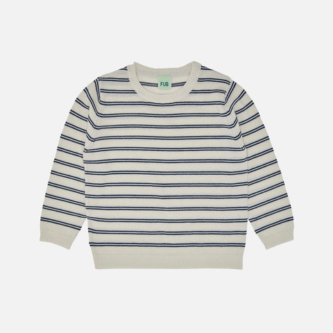 Merino Wool Oversize Stripe Top - Ecru/Navy