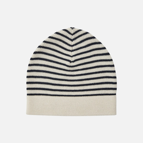 Merino Wool Stripe Hat - Ecru/Navy