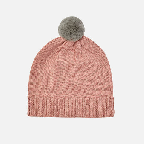 Merino Wool Pompom Hat - Blush