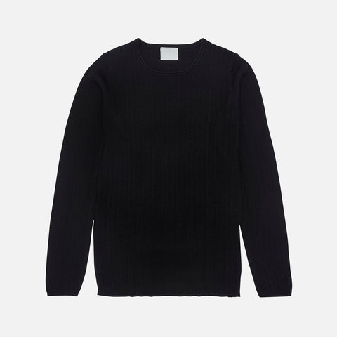 Women's Merino Wool Rib Top - Black