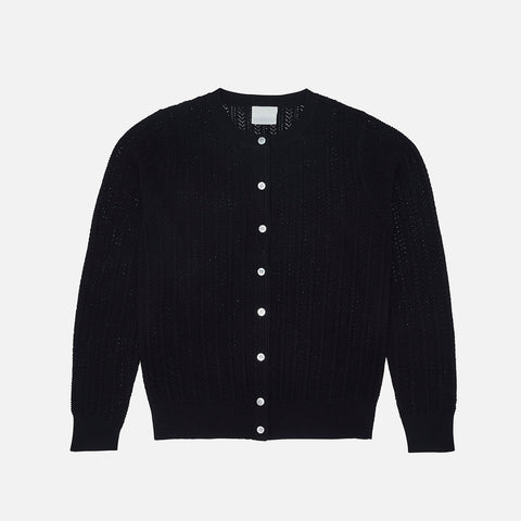 Women's Merino Wool Pointelle Cardigan - Black