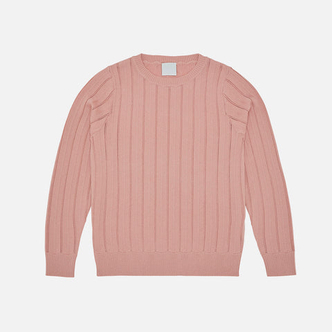 Women's Merino Wool Chevron Sweater - Blush