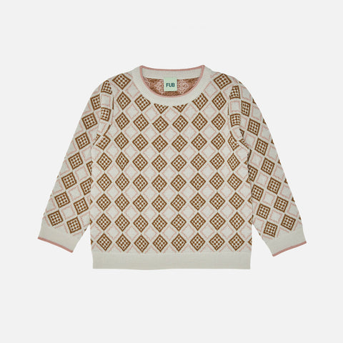 Merino Wool Cubic Sweater - Ecru/Blush/Sienna