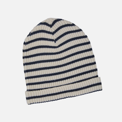 Adult's Merino Wool Stripe Hat - Ecru/Navy