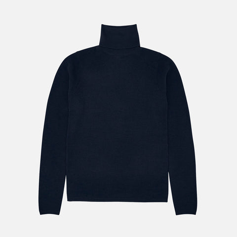 Women's Merino Wool Roll Neck Top - Navy