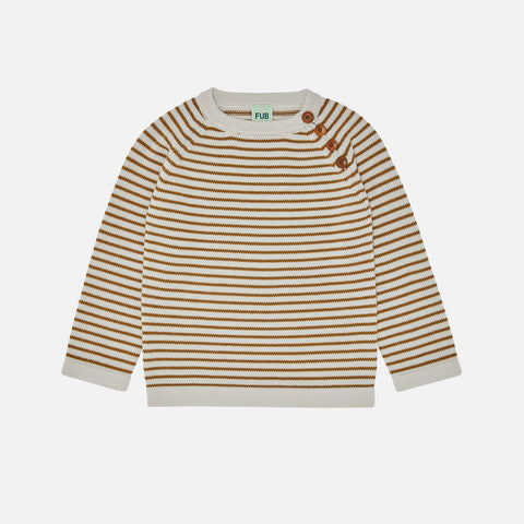 Merino Wool Stripe Sweater - Ecru/Sienna