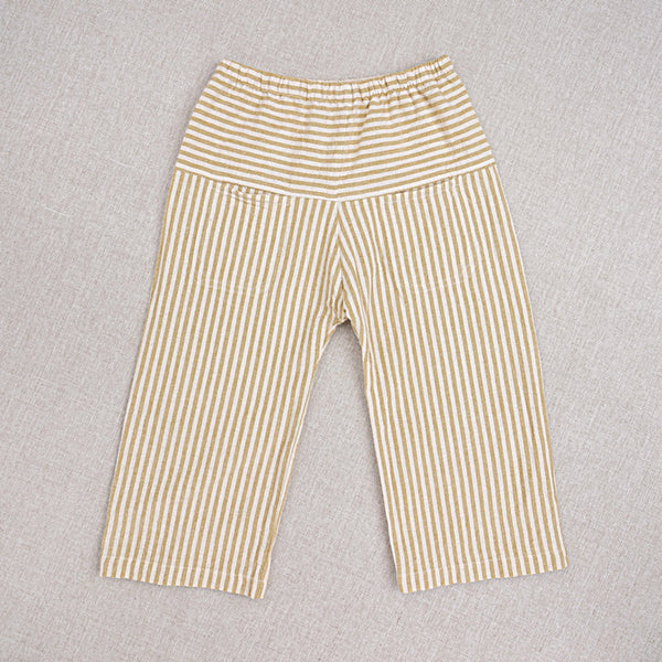 Cotton Hand Woven Eole Trousers - Yellow Stripe