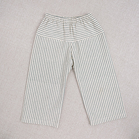 Cotton Hand Woven Eole Trousers - Teal Stripe