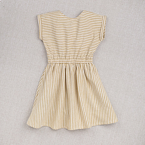 Cotton Hand Woven Adèle Dress - Yellow Stripe