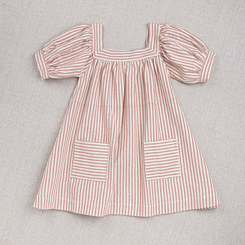 Cotton Hand Woven Nora Dress - Rose Stripe