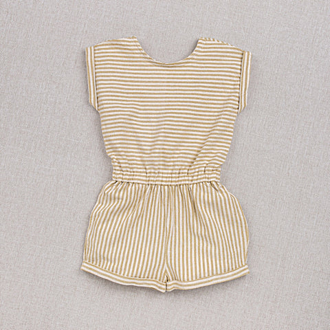 Cotton Hand Woven Adèle Playsuit - Yellow Stripe