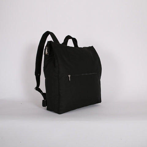 Waxed Cotton Box Rucksack - Black