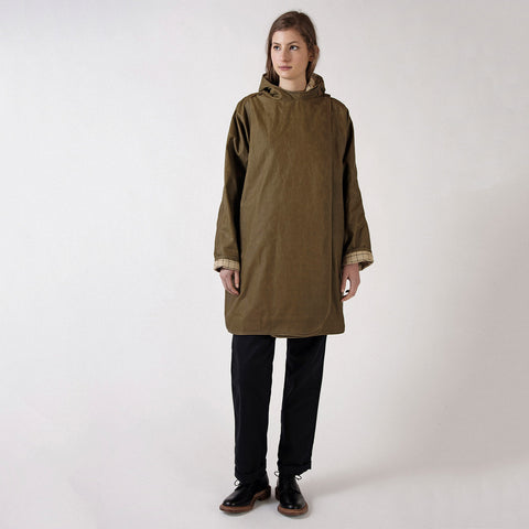 Waxed Cotton Batwing Coat - Sand/Check