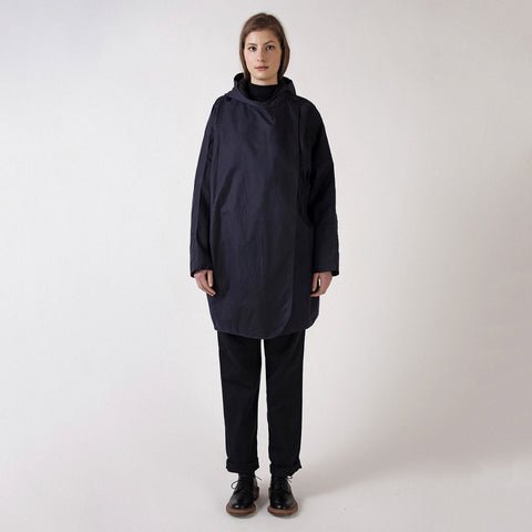 Waxed Cotton Batwing Coat - Navy/Black