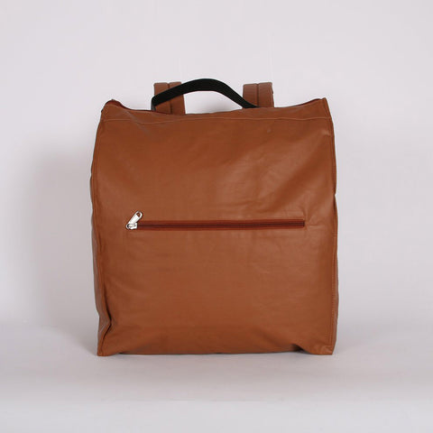 Waxed Cotton Box Rucksack - Amber