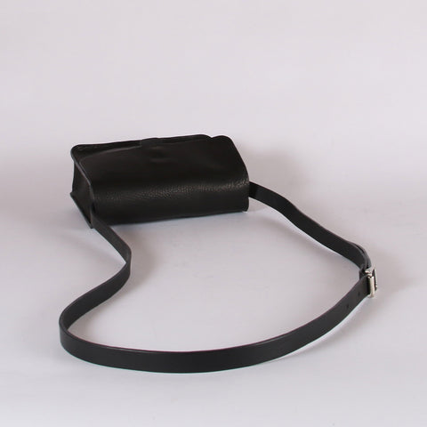 Leather Tab Bag - Black