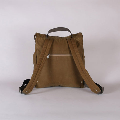 Waxed Cotton Box Rucksack - Sand